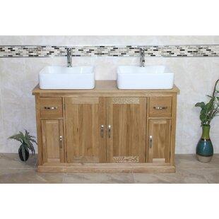 Eldridge Solid Oak 123mm Free-Standing Vanity Unit By Gracie Oaks