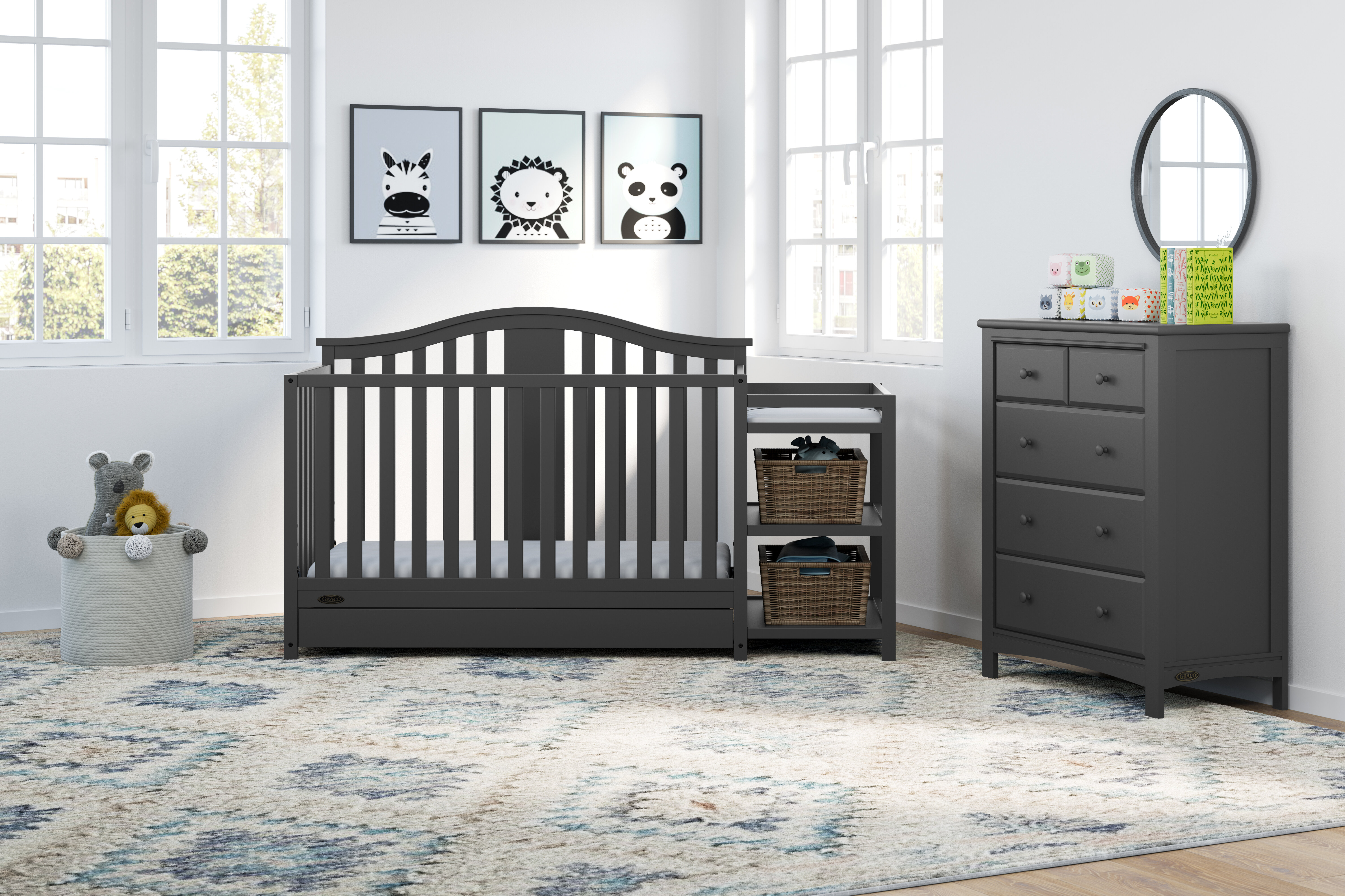 Solano 4 In 1 Convertible Standard Crib And Changer Combo 2 Piece Nursery Furniture Set