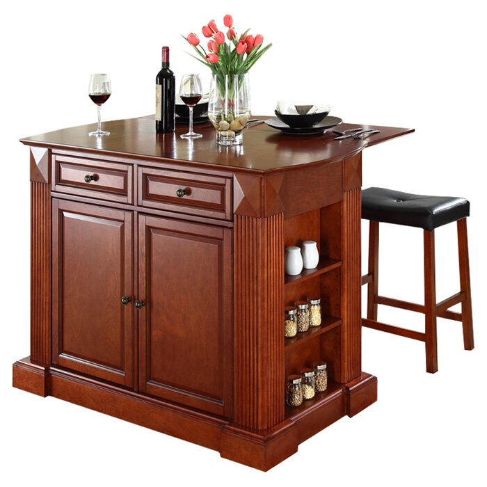 Genial Byron Kitchen Island With Cherry Top And Saddle Stools