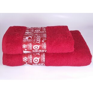Reviews Merry Christmas 2 Piece Turkish Cotton Towel Set ByEnchante Home