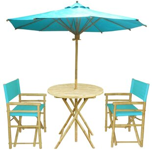 Bay Isle Home Sinta Bamboo 3 Piece Bistro Set with Umbrella