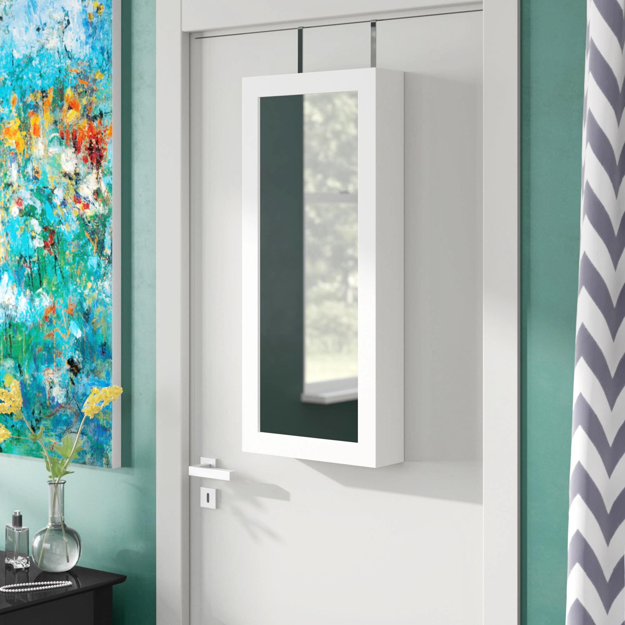 Zipcode Design Kristen Jewelry And Makeup Cabinet Over The Door Armoire With Mirror Reviews Wayfair