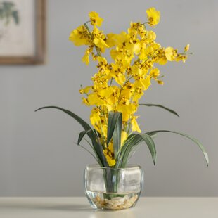 Liquid Illusion Dancing Lady Silk Yellow Orchids Floral Arrangement in Vase