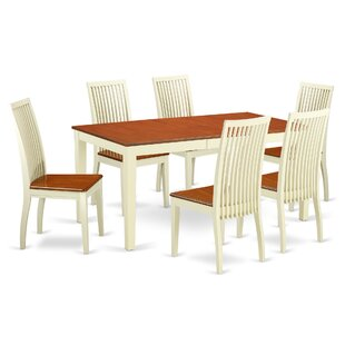 Pillar 7 Piece Solid Wood Dining Set August Grove