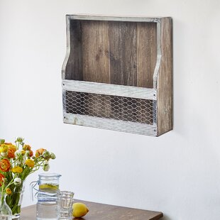 Mendell Wood and Metal 4 Wall Mounted Wine Bottle Rack