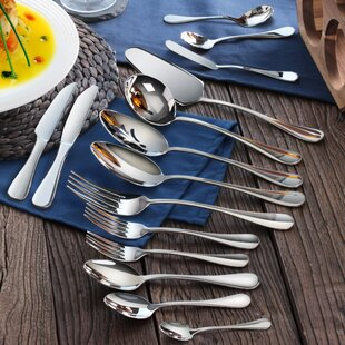 Rain 103 Piece 18/10 Stainless Steel Flatware Set, Service for 12