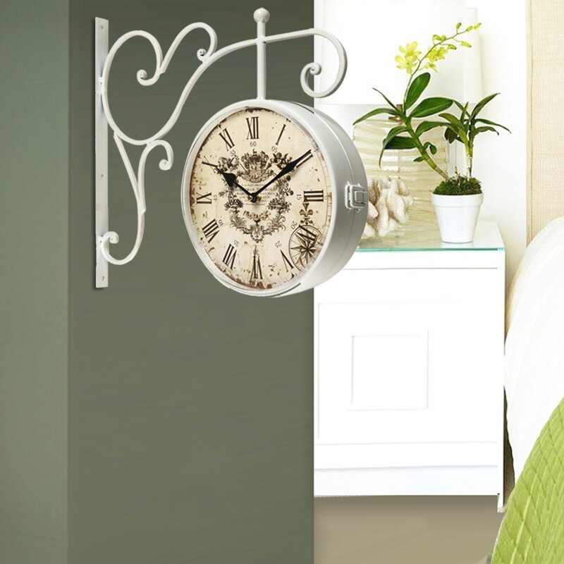 Vintage Inspired Round Double Sided Wall Hanging Clock