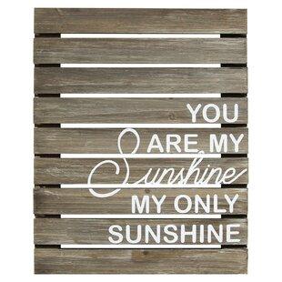 U0027You Are My Sunshine Planku0027 Textual Art