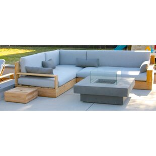 Trijaya Living Bale 3 Piece Teak Sunbrella Sectional Set with Cushions
