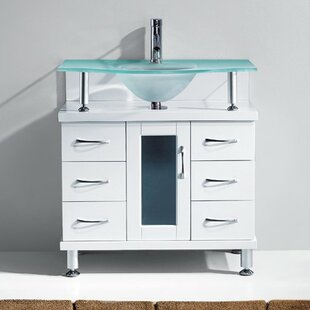 Runge 32 Single Bathroom Vanity Set with Frosted Tempered Glass Top by Latitude Run