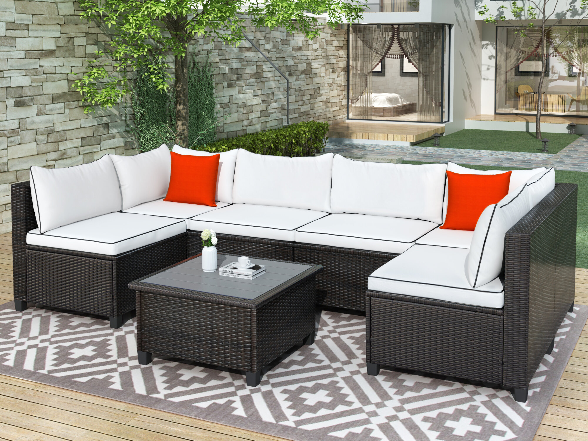 Longshore Tides Courtright 7 Piece Rattan Sectional Seating Group With Cushions Wayfair