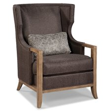 Wood Trimmed Transitional Wing back Chair by Fairfield Chair