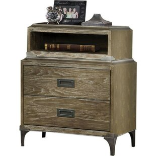 Santoro Wood and Metal 2 Drawer Nightstand