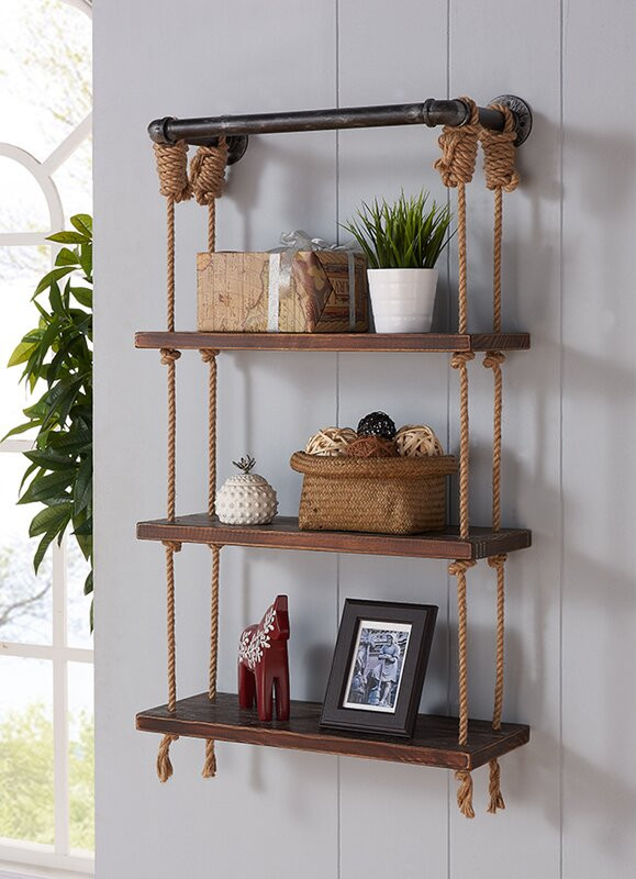 Modern Walnut Wood Floating Wall Shelf