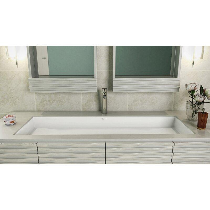 Merveilleux Sacha Solid Surface Plastic Rectangular Undermount Bathroom Sink With  Overflow