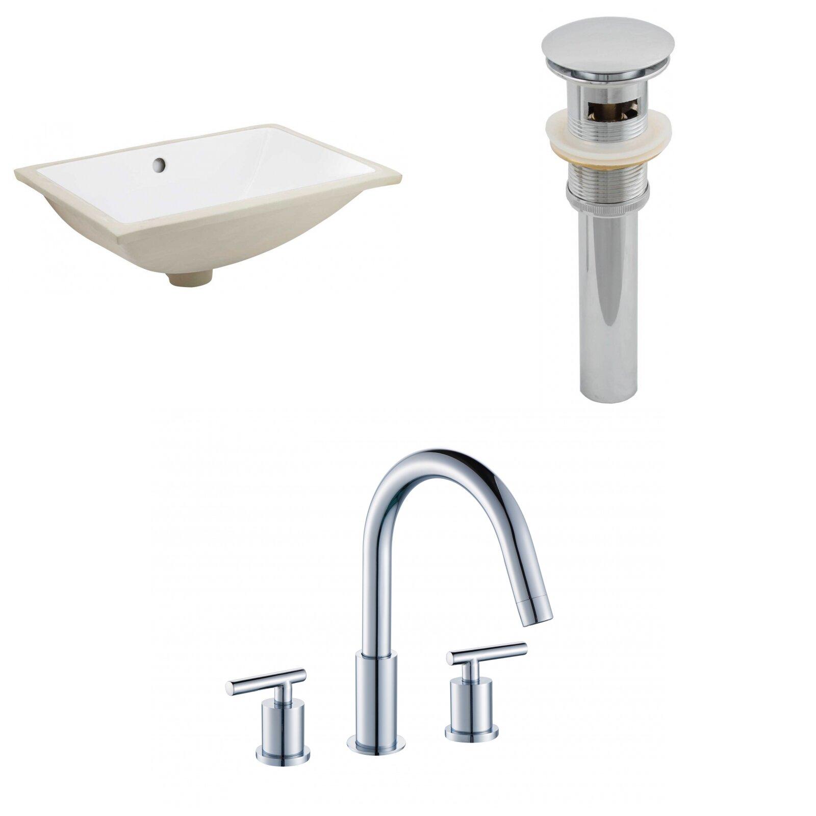 Royalpurplebathkitchen Cupc Ceramic Rectangular Undermount Bathroom Sink With Faucet And Overflow Wayfair