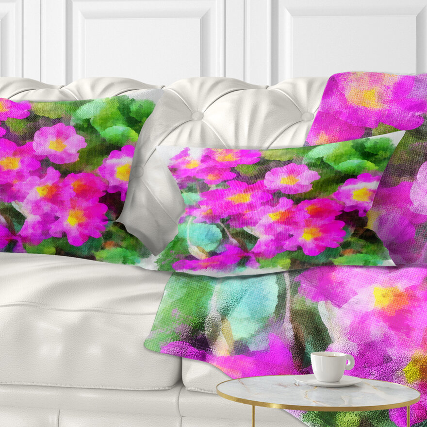East Urban Home Floral Little Flowers With Leaves Lumbar Pillow Wayfair