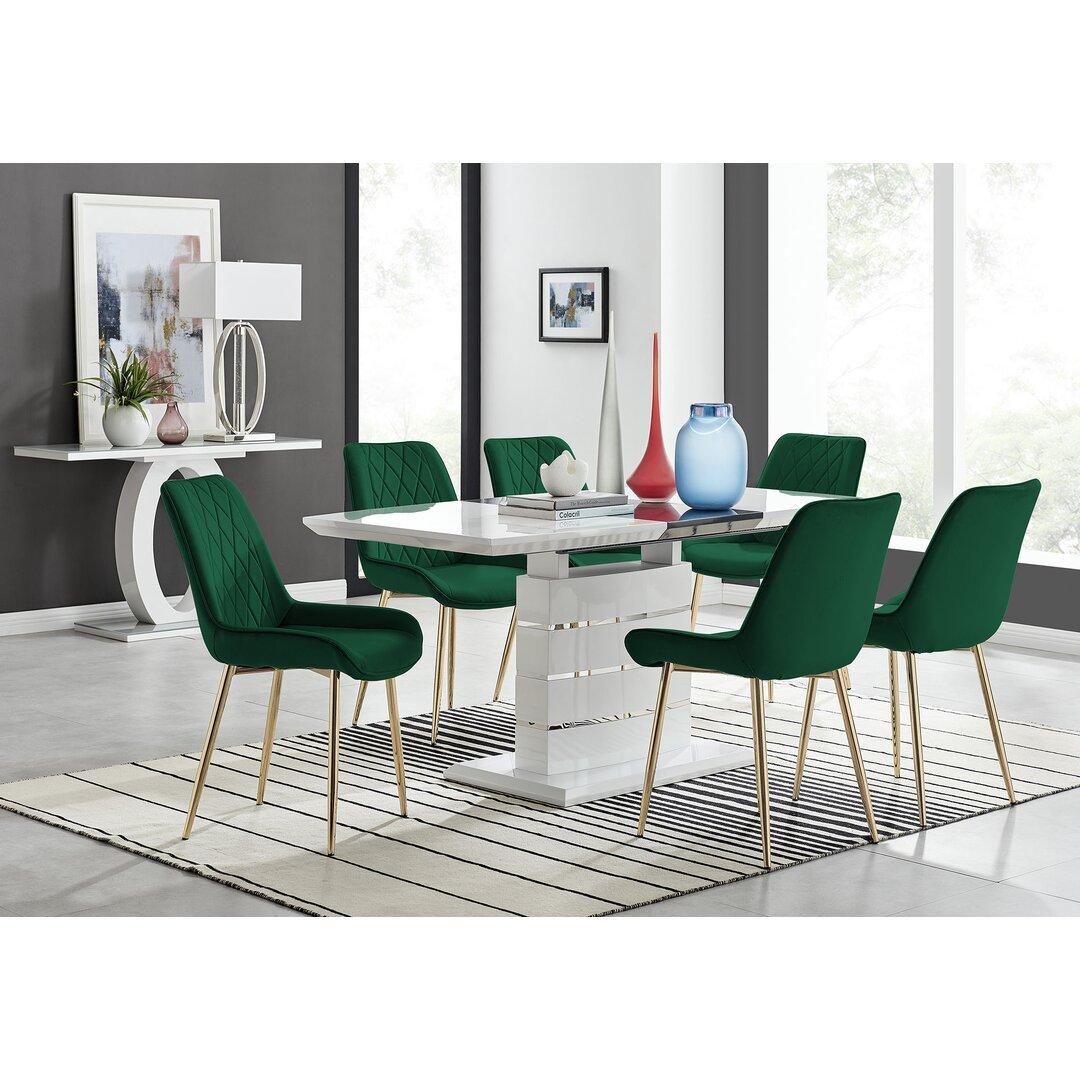 Renato 120Cm High Gloss Extending Dining Table And 6 Grey Eu