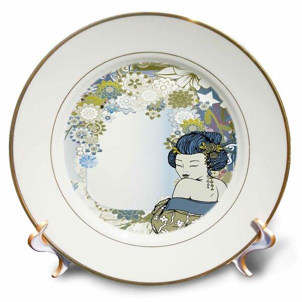 East Urban Home Vector Art Muted Flowers Asian Floral And Geisha Girl Woman Porcelain Decorative Plate Wayfair