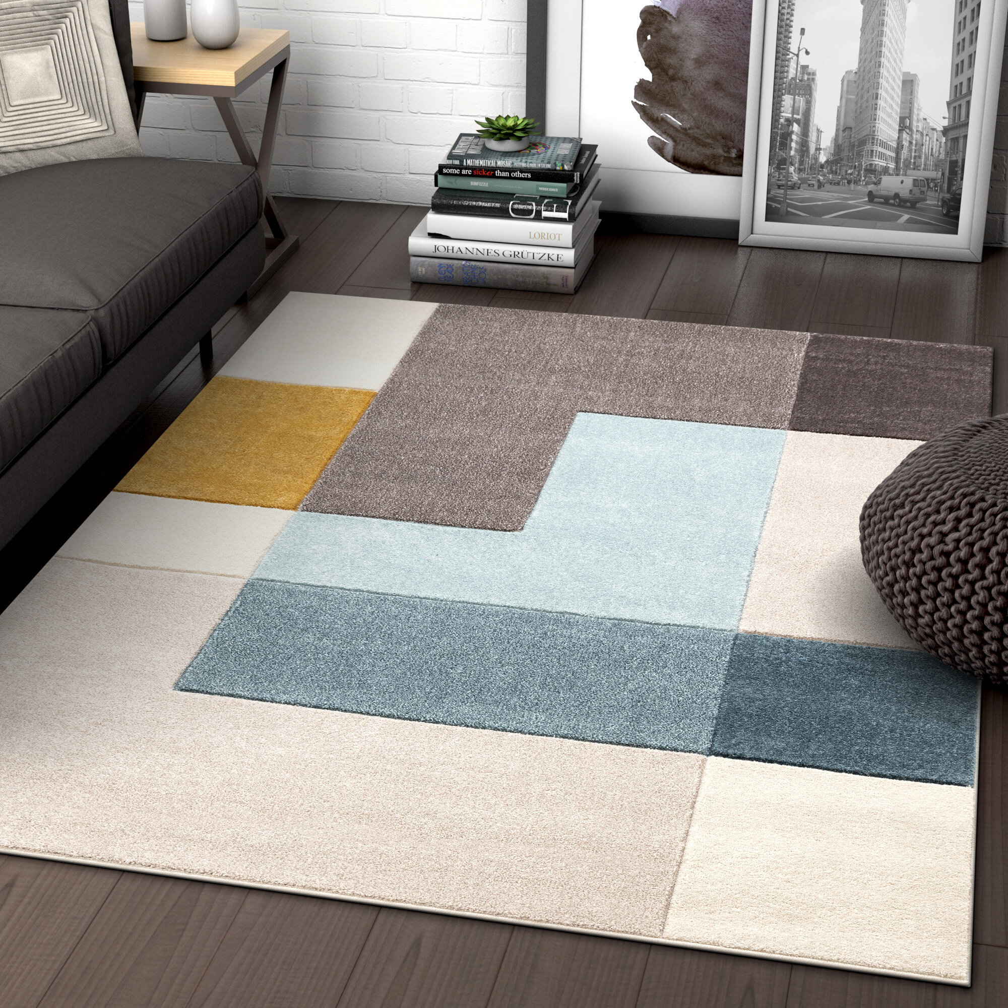 Ruby Constance Mid Century Modern Geometric Squares Gray Gold Mint Blue Area Rug