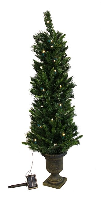 4 potted solar powered artificial christmas tree with led clear lights - Solar Christmas Tree