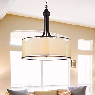 Inexpensive 4-Light Drum Chandelier By Warehouse of Tiffany