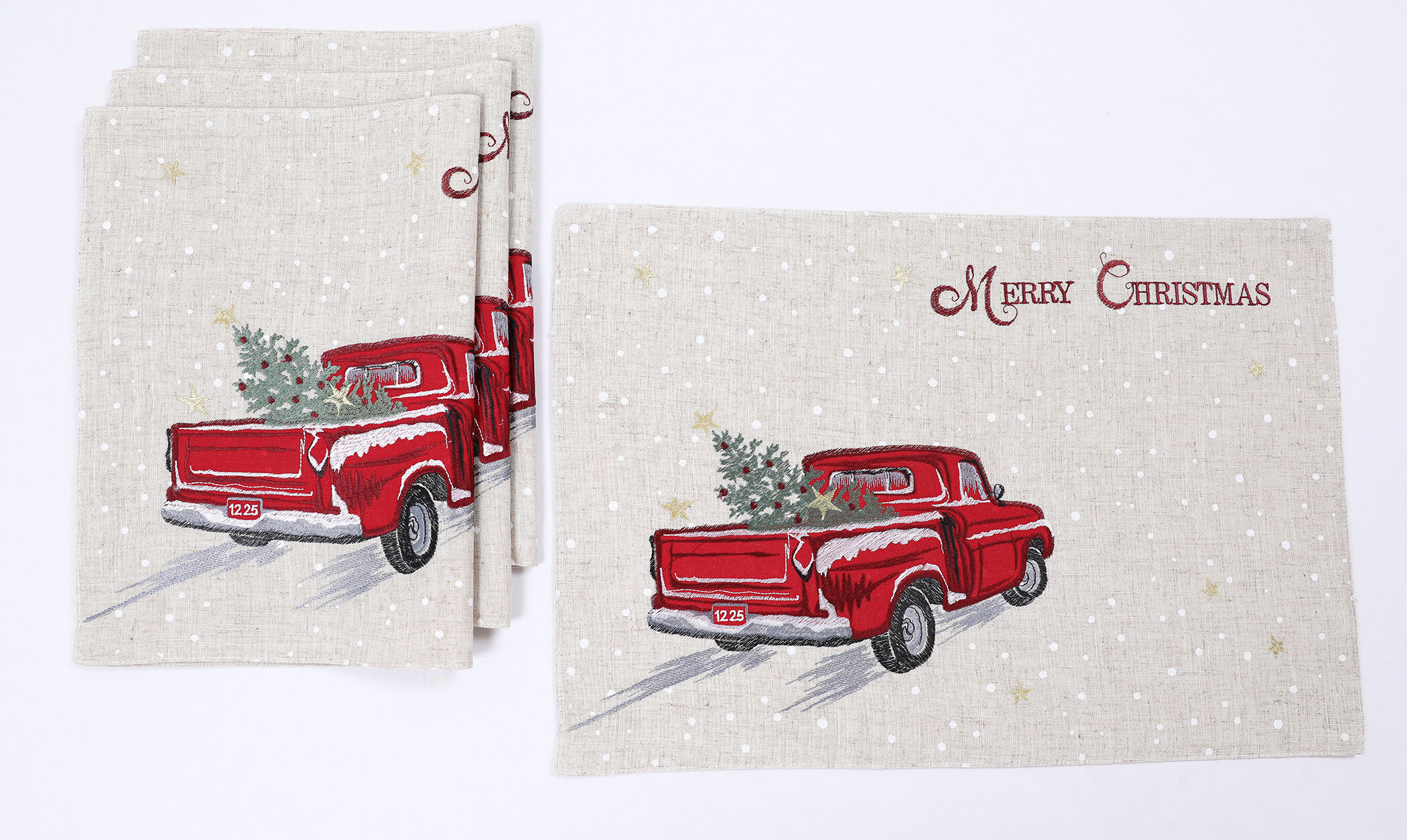 Vintage Red Truck Christmas Placemats.Ingrassia Merry Christmas Truck Embroidered 20 Placemat