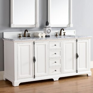 Ogallala 72 Double Cottage White Granite Top Bathroom Vanity Set by Greyleigh