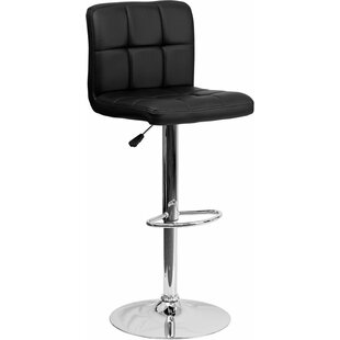 Whelan Mid Back Quilted Adjustable Height Swivel Bar Stool Orren Ellis
