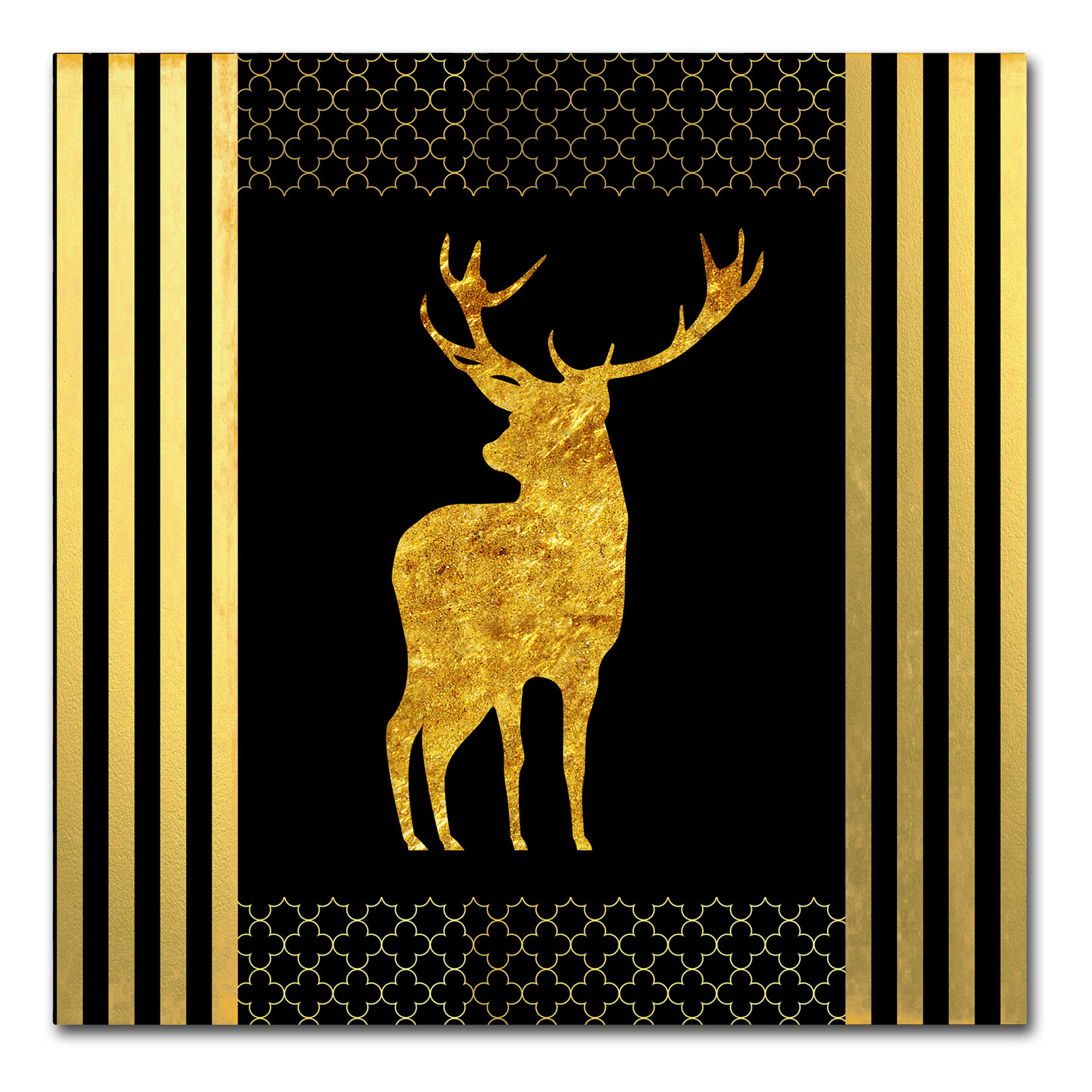 Everly Quinn \'Black & Gold - Feathered Fashion Stag\' Graphic Art ...