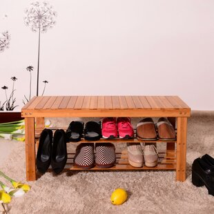 Reviews Strip Pattern 3 Tiers Bamboo 20 Pair Shoe Storage Bench By Rebrilliant