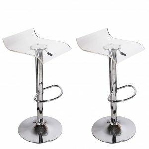 Orren Ellis Champney Acrylic Clear Hydraulic Adjustable Height Swivel Bar Stool (Set of 2)