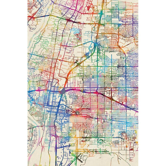 Urban Rainbow Street Map Series: Albuquerque, New Mexico, USA Graphic Art  on Wrapped Canvas