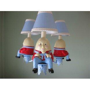 Silly Bear Lighting Humpty Dumpty 3-Light Shaded Chandelier