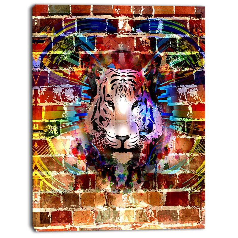 Designart Tiger Over Abstract Brick Design Graphic Art On Wrapped Canvas Wayfair