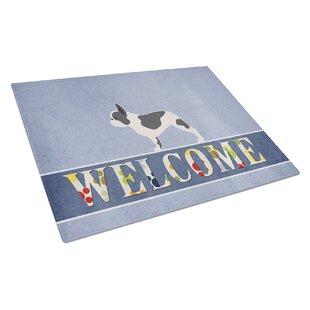 Welcome Dog Glass French Bulldog Cutting Board
