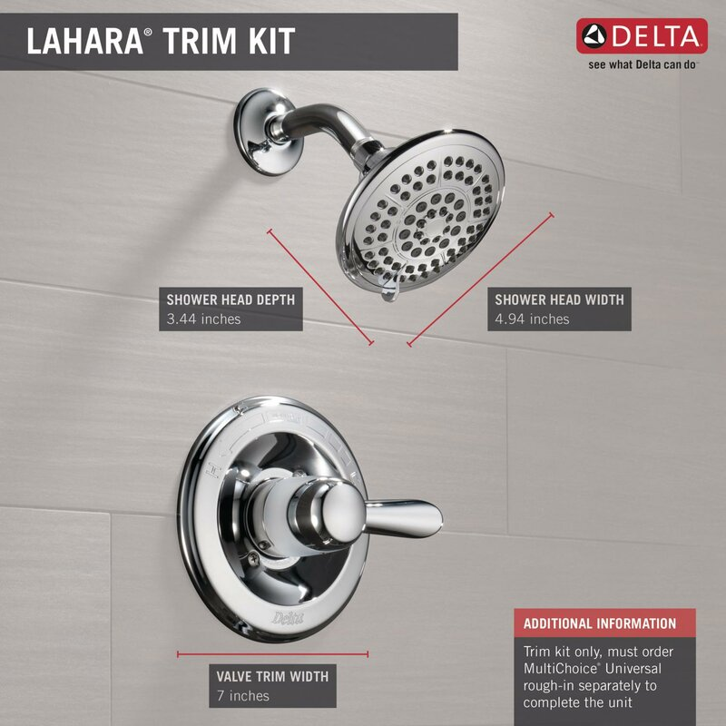 Delta Lahara Thermostatic Shower Faucet Trim with Lever Handles and ...