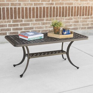 Eoin Cast Aluminum Wicker Style Patio Coffee Table