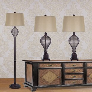 3 Piece Table and Floor Lamp Set