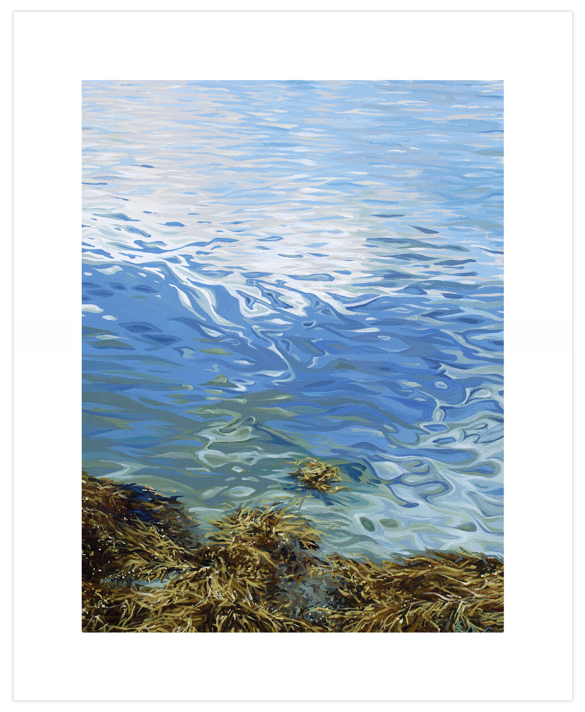 Greenbox Art Seaweed Acrylic Painting Print On Paper In Blue