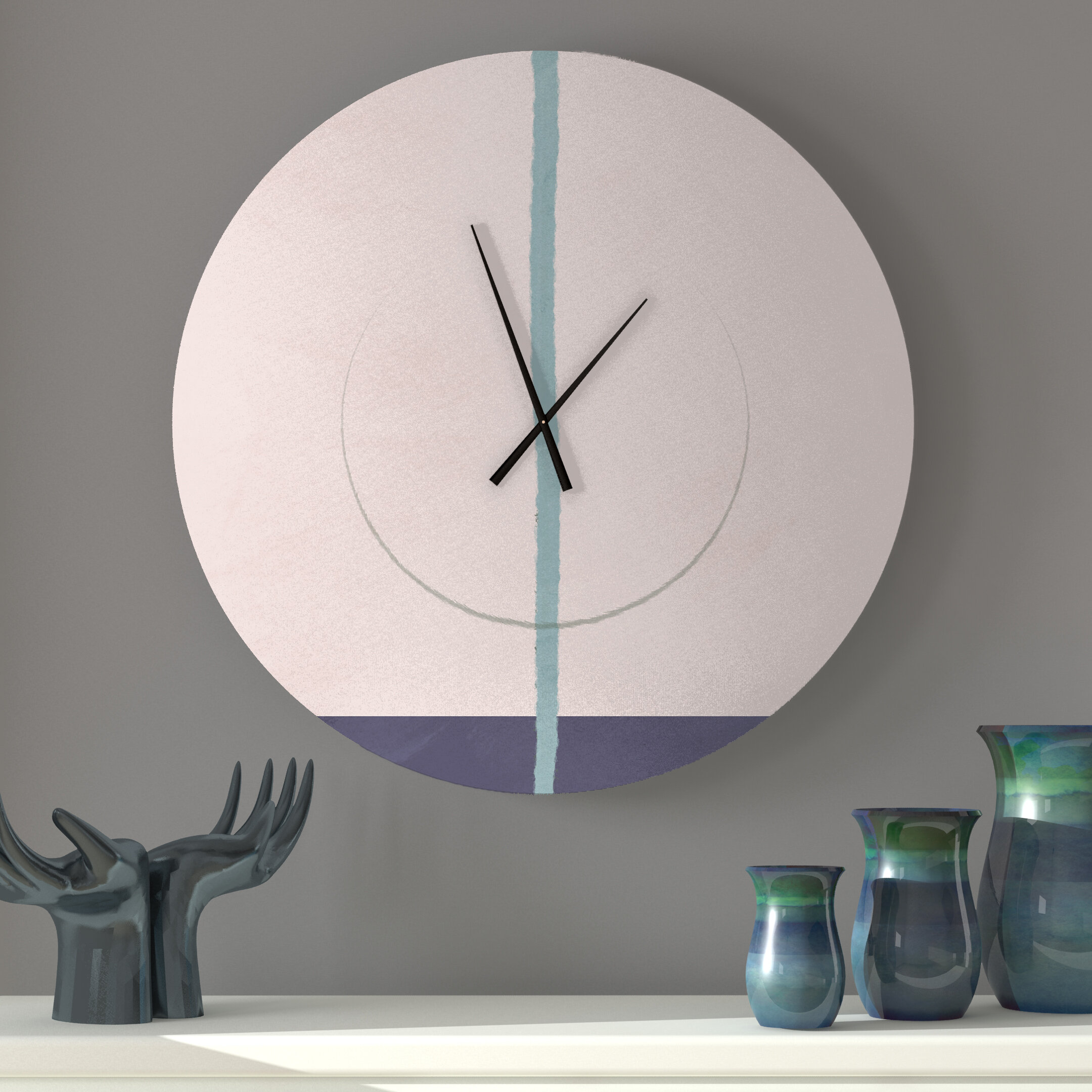 Ebern Designs Vaulting Equitable Abstract Metal Wall Clock Wayfair