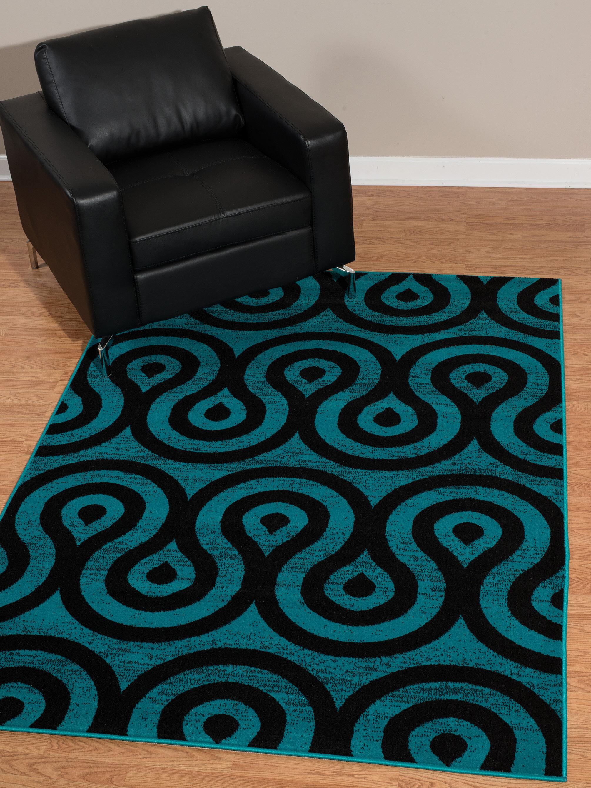 Wrought Studio Partlow Abstract Aqua Black Area Rug Reviews Wayfair