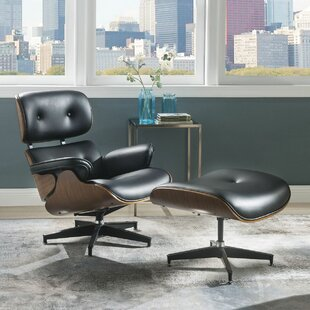 Nettie 2 Piece Modern Swivel Lounge Chair and Ottoman