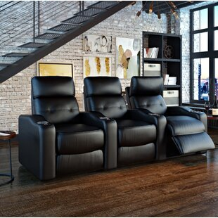 Ebern Designs Power Leather Home Theater Sofa