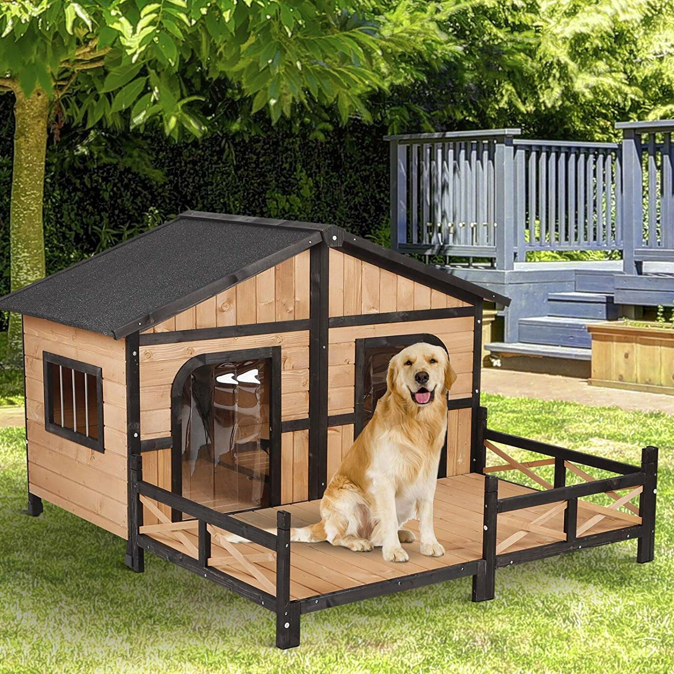 Outdoor Dog House With Fence | Wayfair