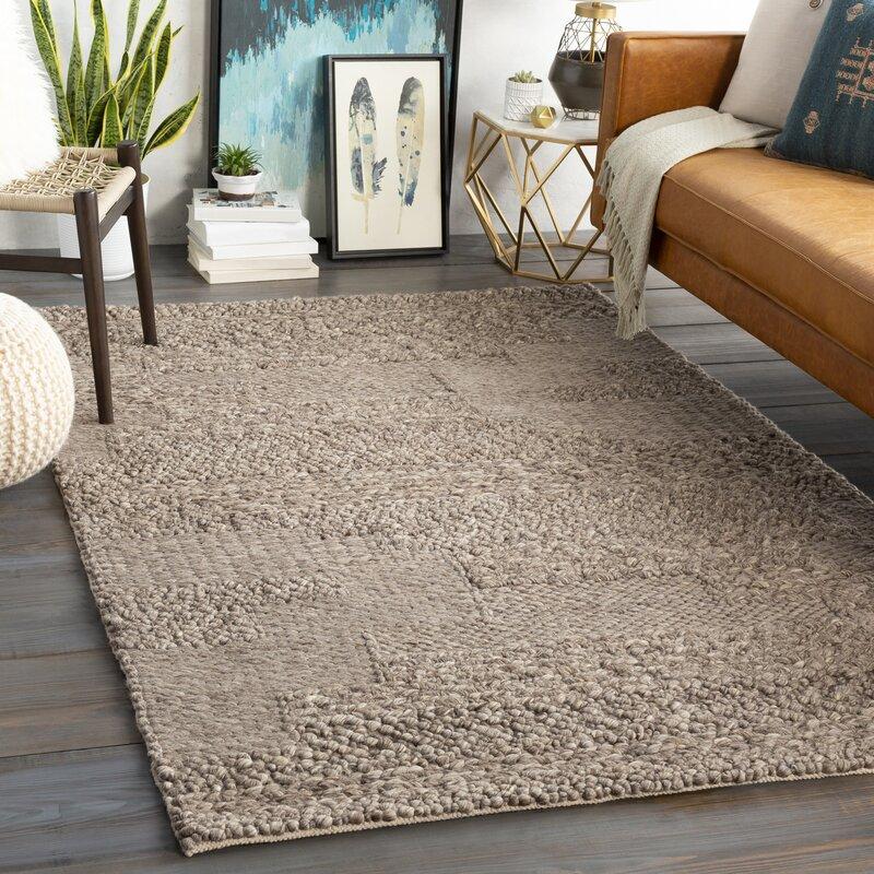 Lurmont Abstract Hand Flatweave Wool Dark Brown Charcoal Area Rug Allmodern