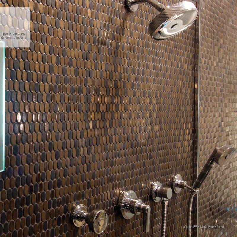 Confetti Porcelain Penny Mosaic Tile In Bronze