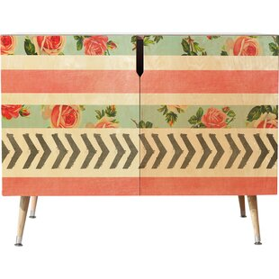 Floral Stripes and Arrows Accent Cabinet by East Urban Home