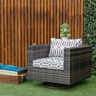Mcnally Swivel Patio Chair with Cushion in , Gray Lattice