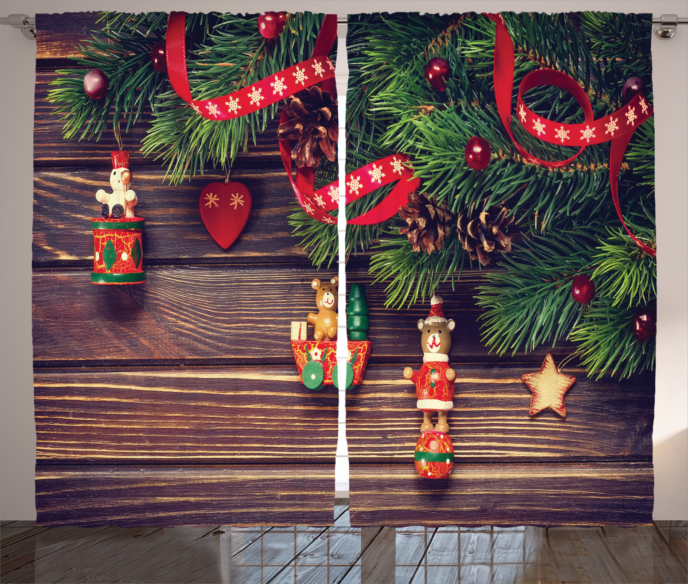 the holiday aisle christmas decorations rustic wood backdrop december old christmas time theme jesus ribbon graphic print text semi sheer rod pocket - Old Christmas Decorations